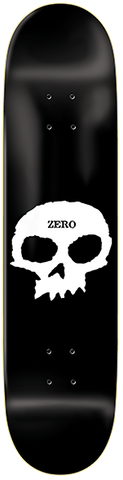 DECKS / ZERO / SINGLE SKULL - BLACK/WHITE - 8.0""