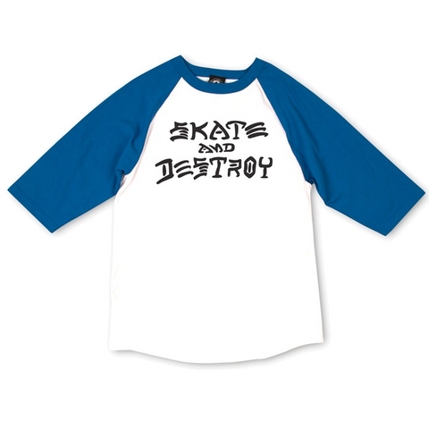 T-SHIRTS / THRASHER / SKATE & DESTROY RAGLAN - WHITE/BLUE
