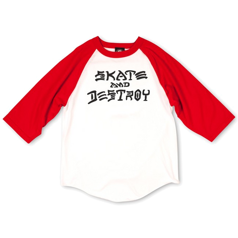 T-SHIRTS / THRASHER / SKATE & DESTROY RAGLAN - WHITE/RED