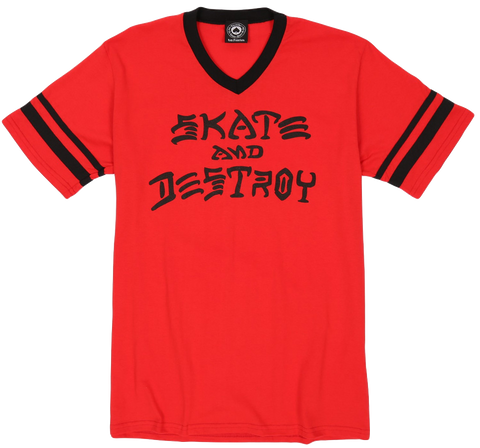 T-SHIRTS / THRASHER / SKATE & DESTROY RINGER - RED/BLACK