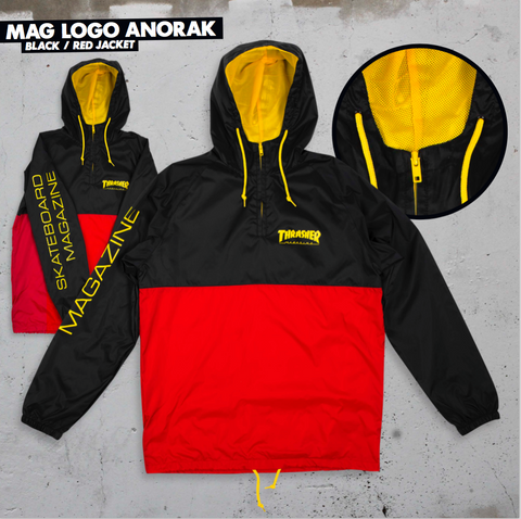 JACKETS / THRASHER / MAG LOGO - ANORAK JACKET HOODED - BLACK/RED