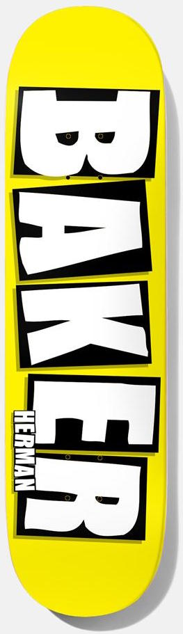 "DECKS / BAKER / BRAND NAME NEON - BRYAN HERMAN - NEON YELLOW - 8.38"" (B ² SHAPE)"
