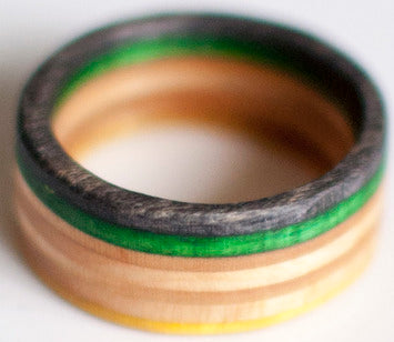 RINGS / RECYCLED RING / 10.5 - BLACK/GREEN/YELLOW