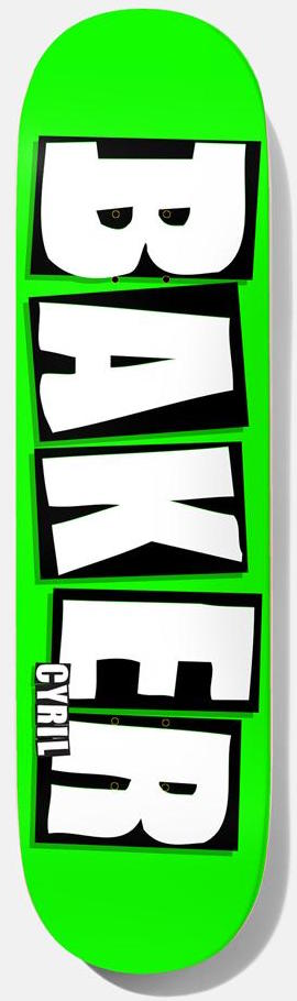 "DECKS / BAKER / BRAND NAME NEON - CYRIL JACKSON - NEON GREEN - 8.25"" (B ² SHAPE)"