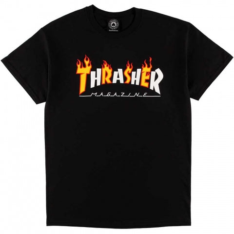 T-SHIRTS / THRASHER / FLAME MAG - BLACK