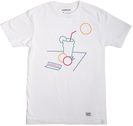 T-SHIRT / AKOMPLICE / AND THE LIVIN'S EASY - WHITE