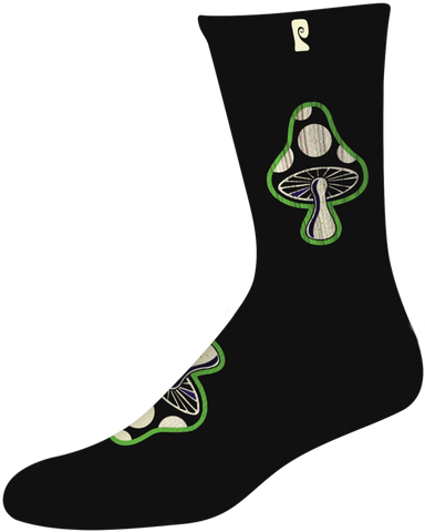 SOCKS / PSOCKADELIC / MUSHROOM 3 - BLACK (GLOW IN THE DARK)