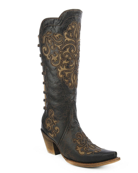 Women's Black / Bone Snip Toe Boot