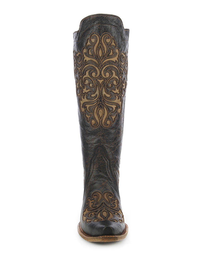 Corral Women's Magdalena Black Bone Inlay Back Straps Boot