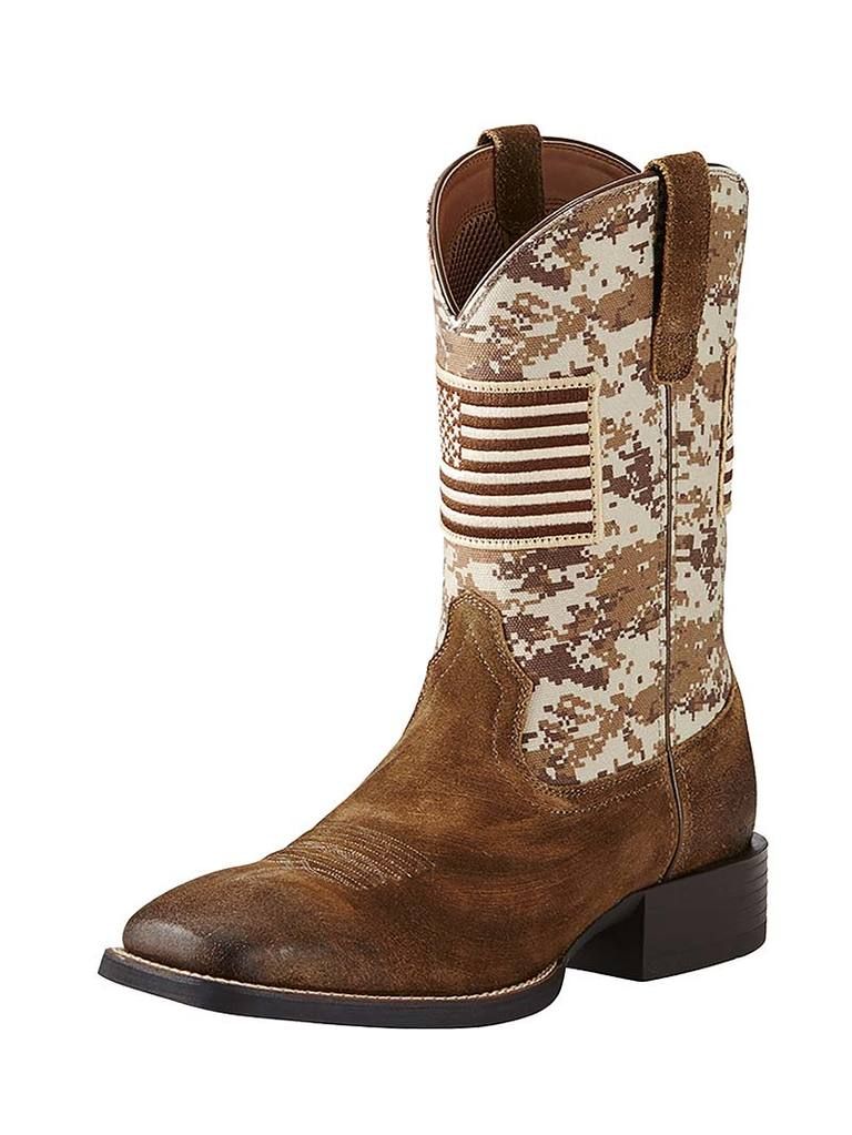 Ariat Men's Sport Patriot Sand Storm Camo Amercan Flag Boots