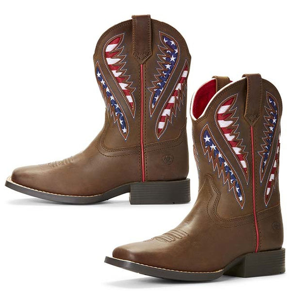 Ariat Kid's Quickdraw VentTEK American Flag Western Boots