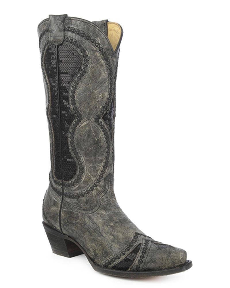 Black and Gray Sequin Vintage Boots