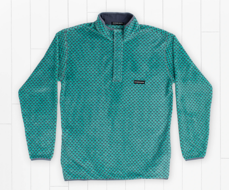 Arapaho Fleece Pullover - Slate and Mint