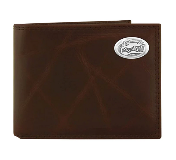 Florida Gators Wrinkle Leather Bi-fold Concho Wallet - NCAA