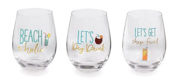Beach Drink Stemless Wine Glasses