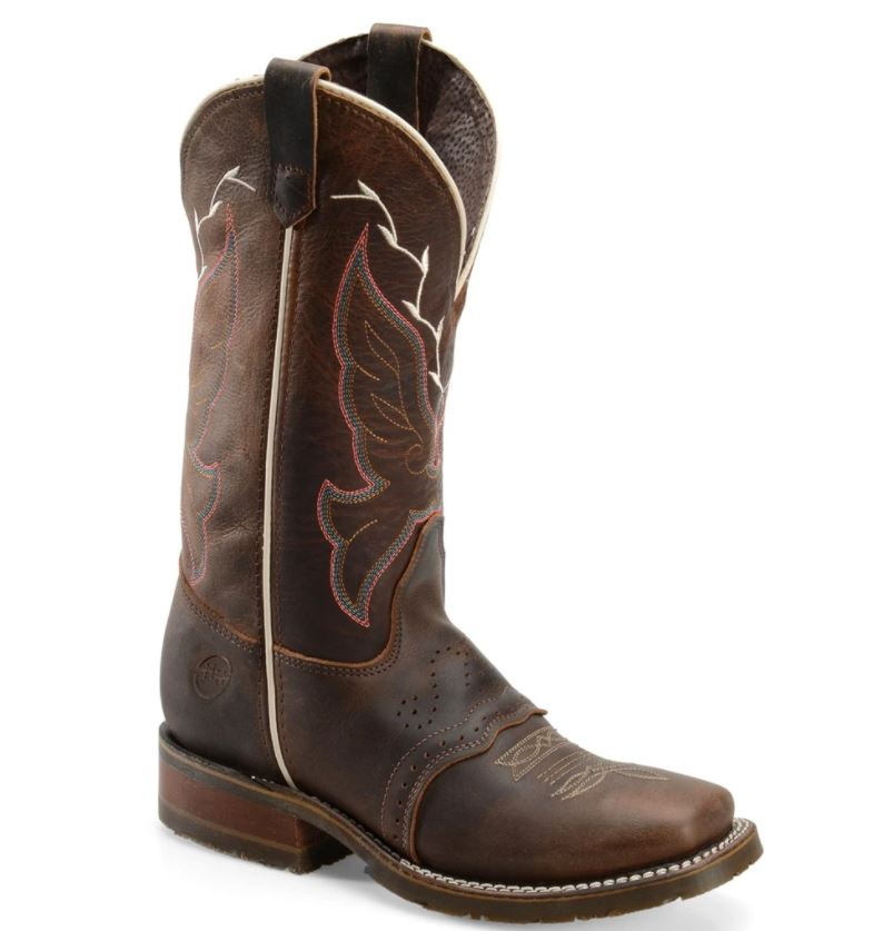 "Ladies Caroline 12"" Brown Square Toe Western Boot"
