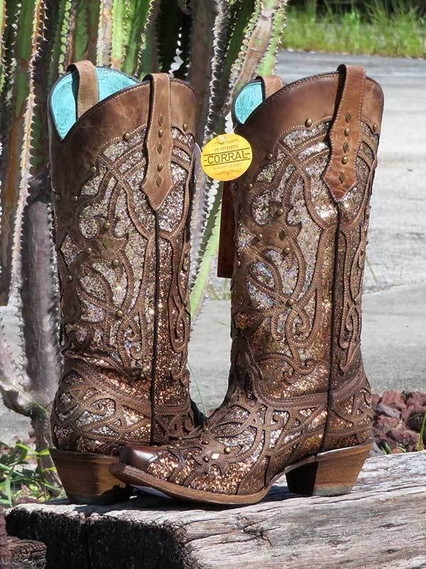 Corral Orix Glittered Inlay and Studs Snip Toe