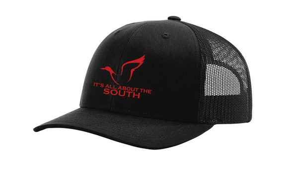 All About The South Duck Logo Trucker Mesh Snapback Hat-Black-Black Mesh