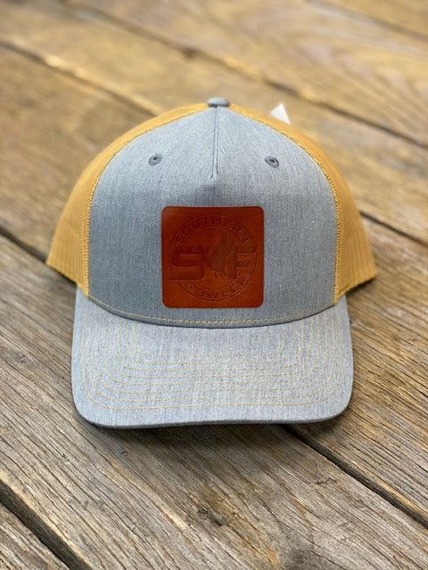 Southern Fowler Leather Patch - Grey and Mustard