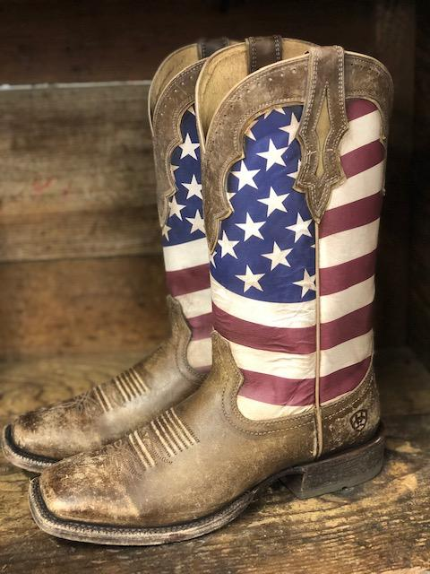 Ariat Men's Ranchero Stars & Stripes Square Toe Western Boots