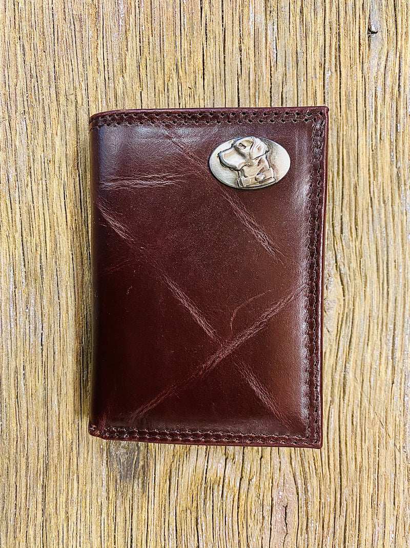 Lab Brown Wrinkle Leather Tri-fold Concho Wallet