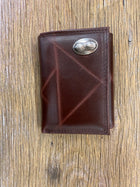 Peanut Brown Wrinkle Leather Tri-fold Concho Wallet