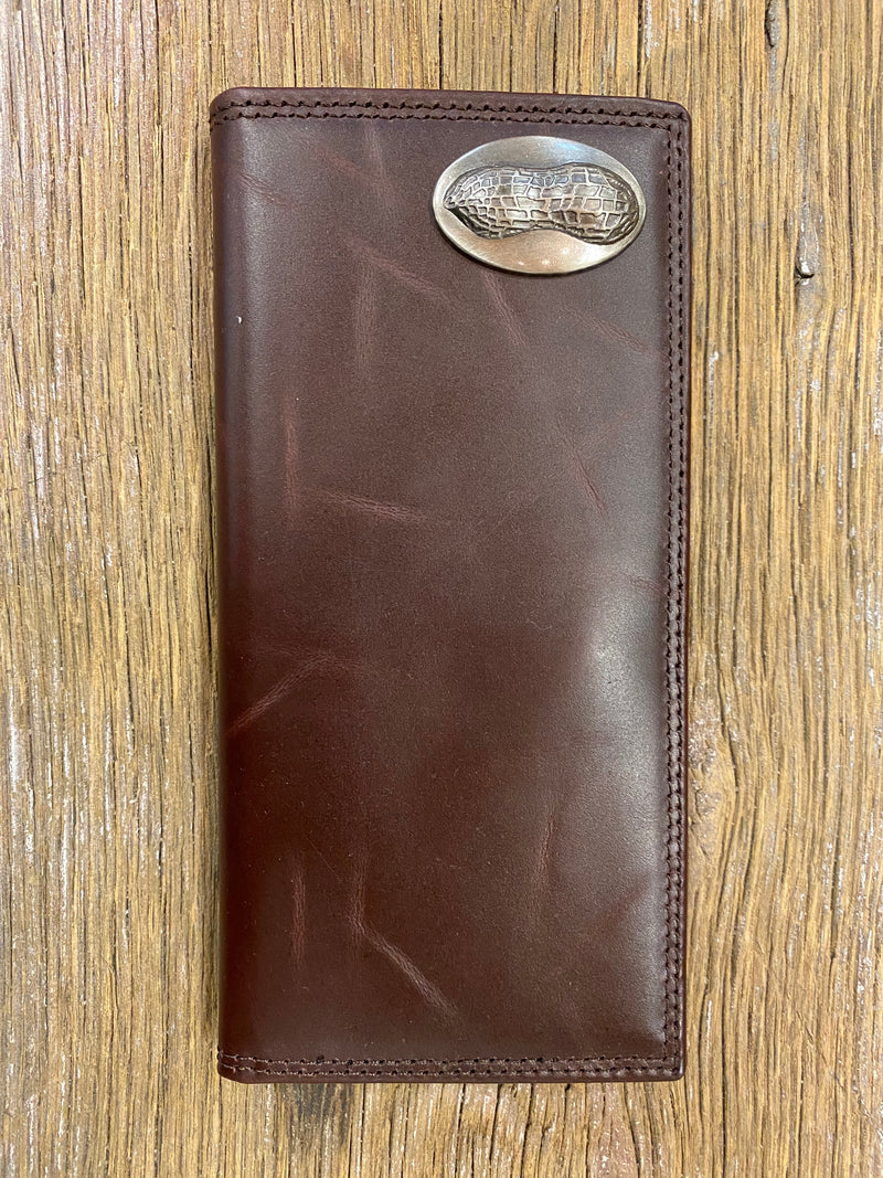Peanut Brown Wrinkle Leather Roper Concho Wallet