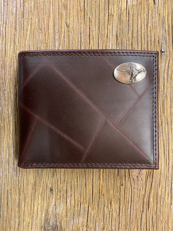 Duck Brown Wrinkle Leather Bi-fold Concho Wallet
