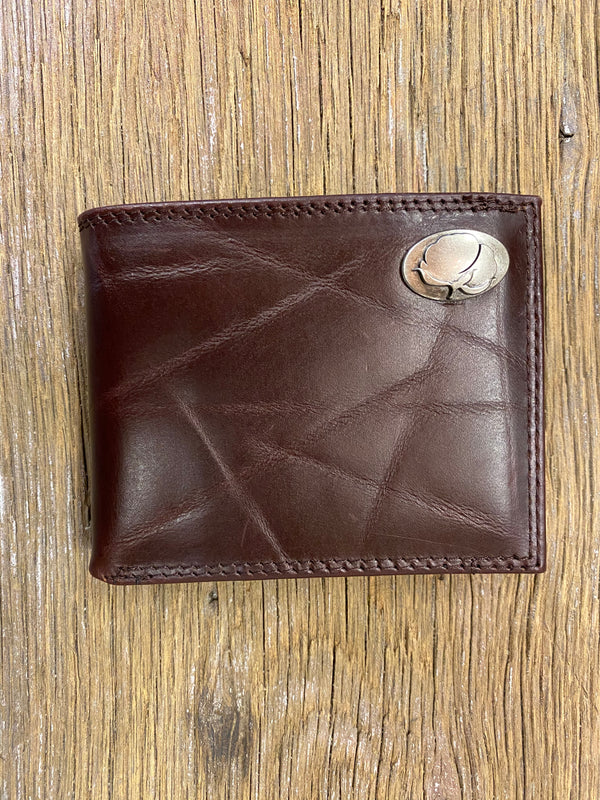 Cotton Brown Wrinkle Leather Bi-fold Concho Wallet