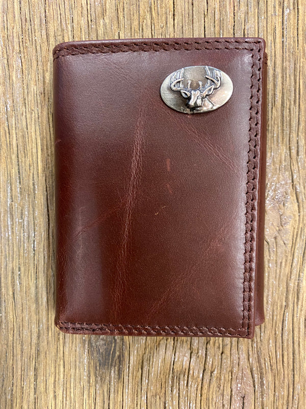 Deer Brown Wrinkle Leather Tri-fold Concho Wallet