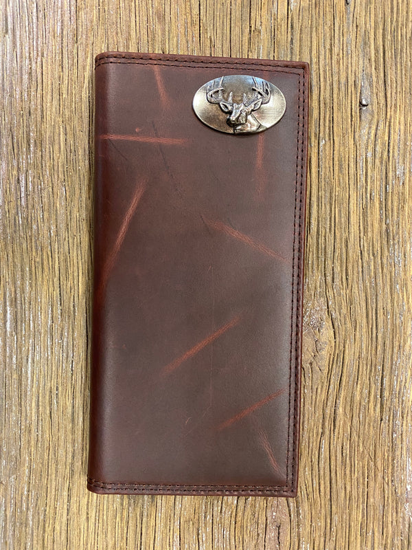 Deer Brown Wrinkle Leather Roper Concho Wallet
