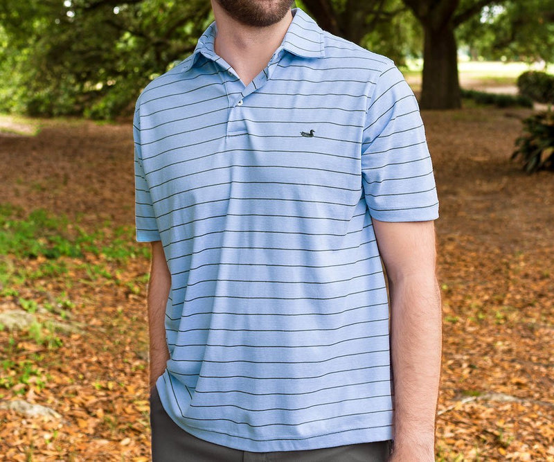 Berkeley Performance Polo Striped - French Blue & Midnight Gray