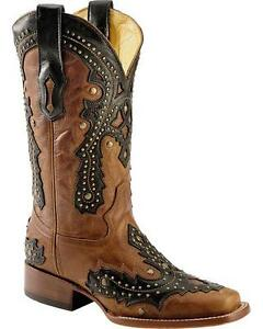 Corral Women's Brown Black Studded Leather Square Toe Boots