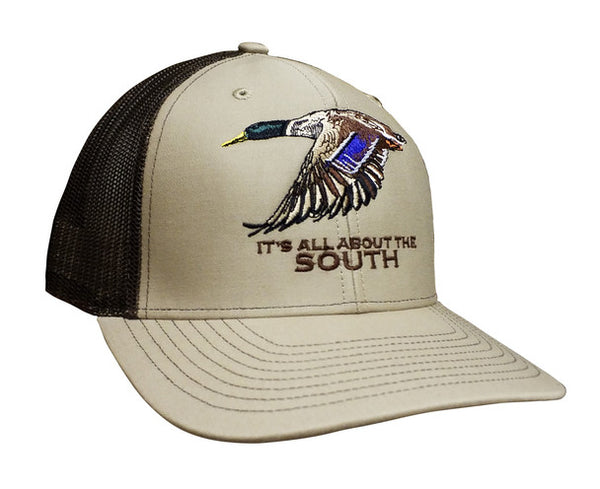 All About The South Mallard Trucker Mesh Snap-back Hat-Khaki- Coffee Brown Mesh