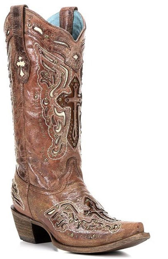 Corral Women's Cognac With Bone Inlay Cross And Studs Snip Toe Cowgirl Boots