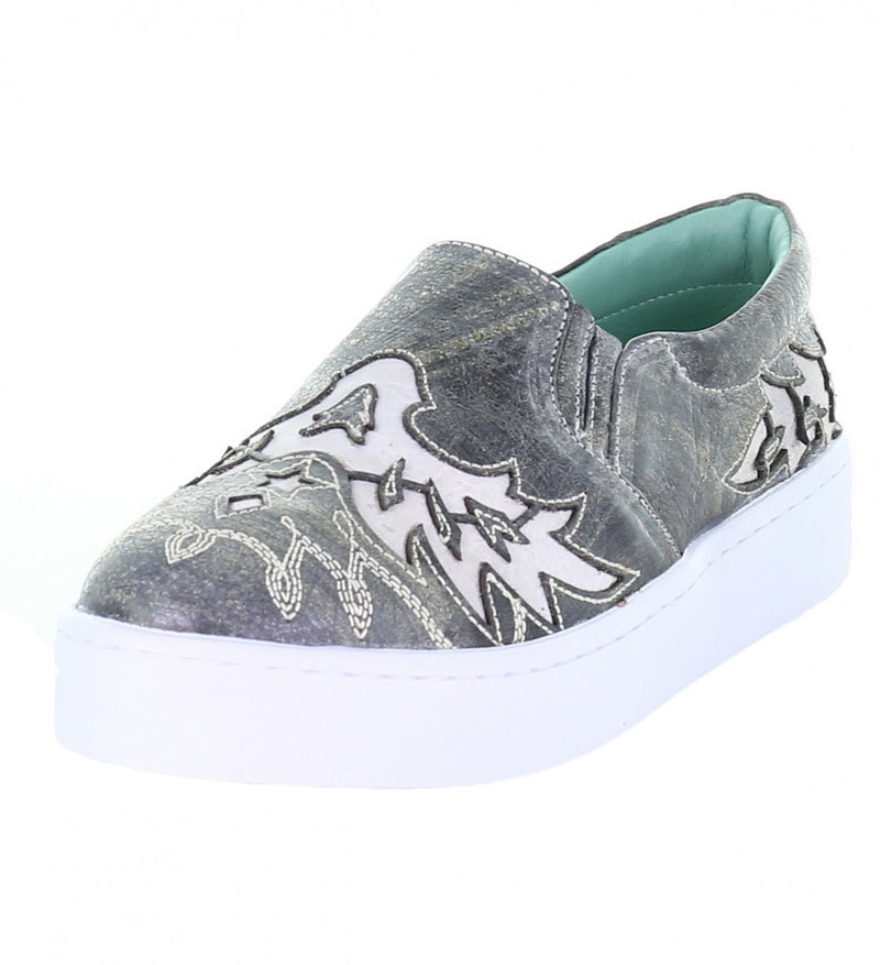 Corral Gray and Cream Inlay Embroidered Sneaker