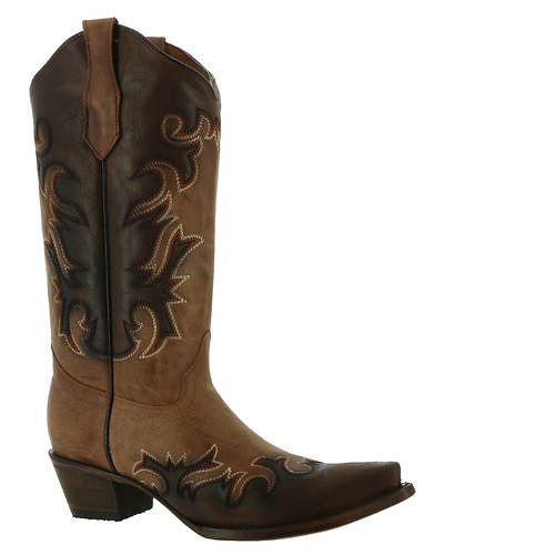 Women's Circle G Shedron/Chocolate Embroidery Snip Toe Boot