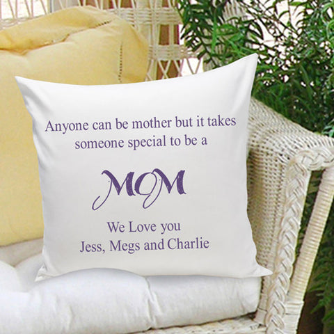 16x16 Throw Pillow Family - Anyone Can be a Mother - Plum