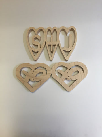 Personalized Hearts Trivet 3 Piece Set