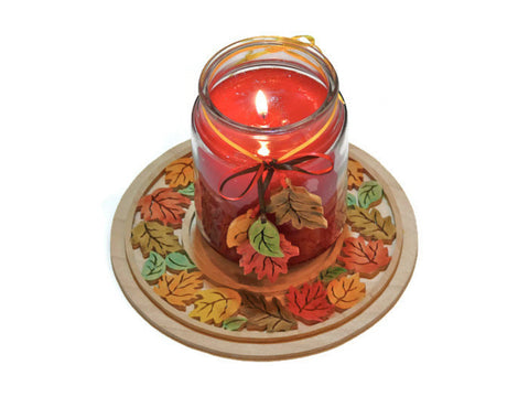 Handmade Fall Red, Orange, Yellow, Green Leaves Jar Candle Tray Holder