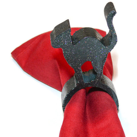 Black Cat Napkin Ring Holder