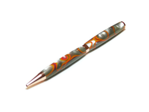 Gray and Orange Ball Point Ink Writing Pen