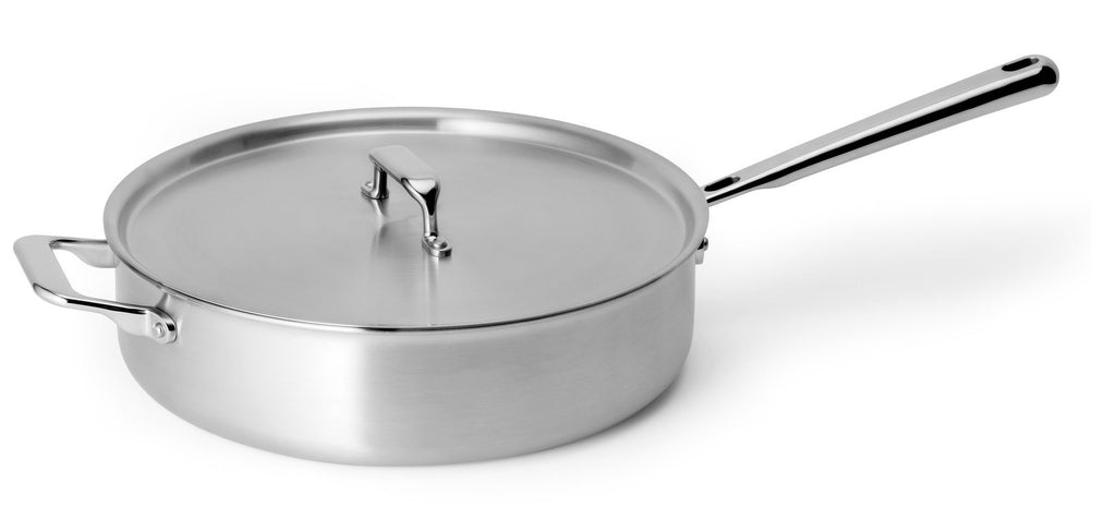 A stainless steel oven-safe sauté pan