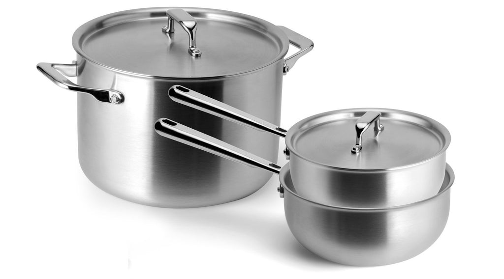 A stainless steel stockpot and sauciers: some of the best cookware for glass top stoves