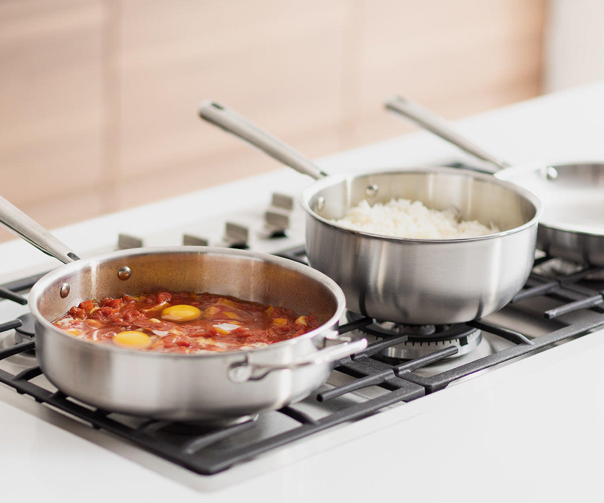 Misen stainless steel cookware will last a lifetime, and can go from stove to oven.