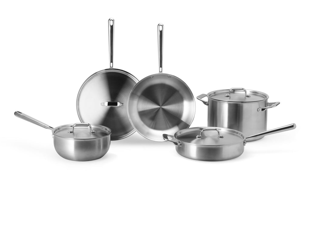 Types of pots and pans: a set of Misen stainless steel pots and pans
