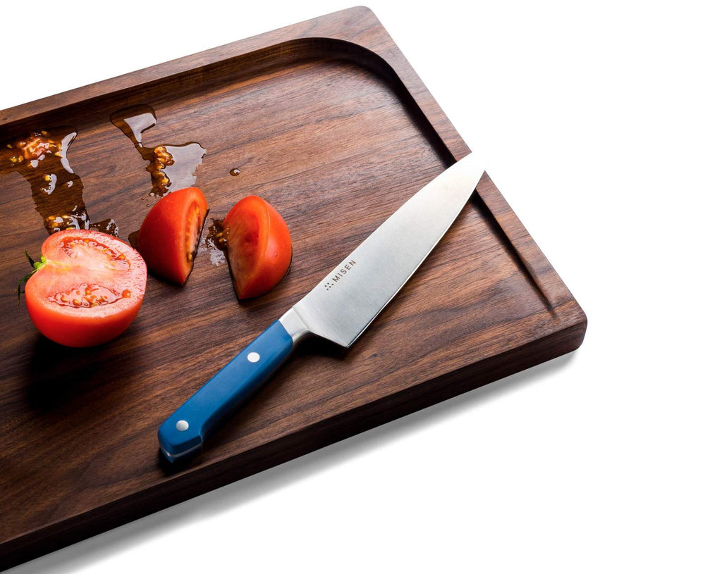 Best cutting board: Tomato juice gets caught in the trench of the Misen Trenched Cutting Board