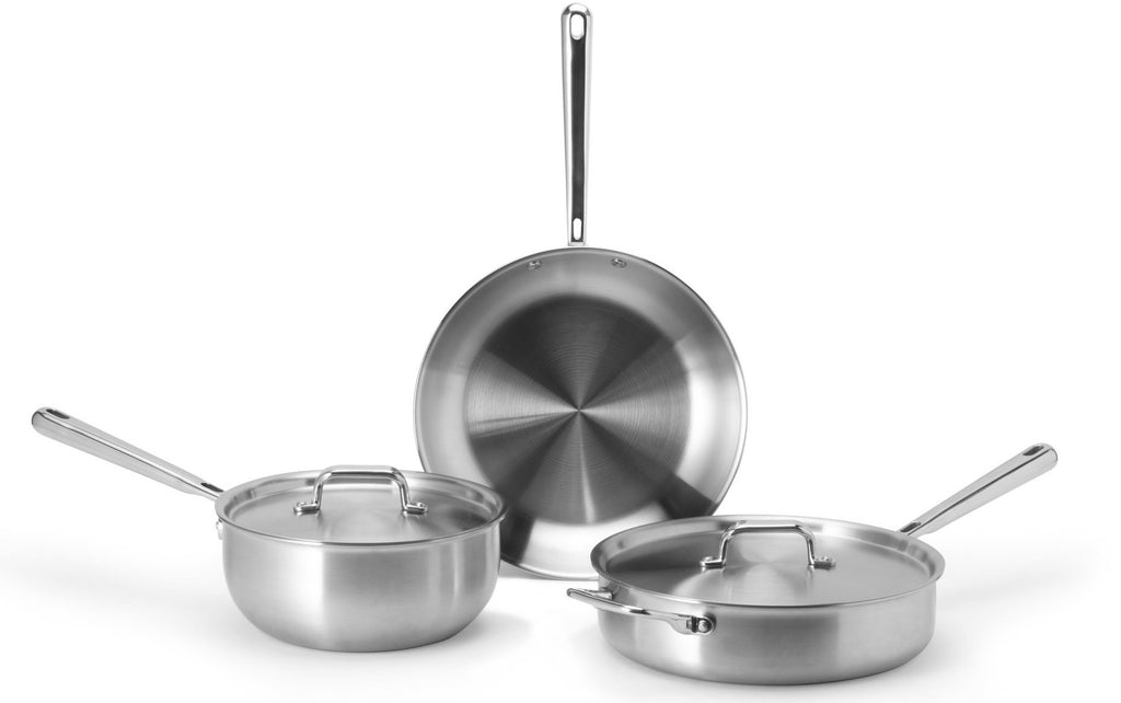 Misen stainless steel starter cookware set with an oven-safe skillet