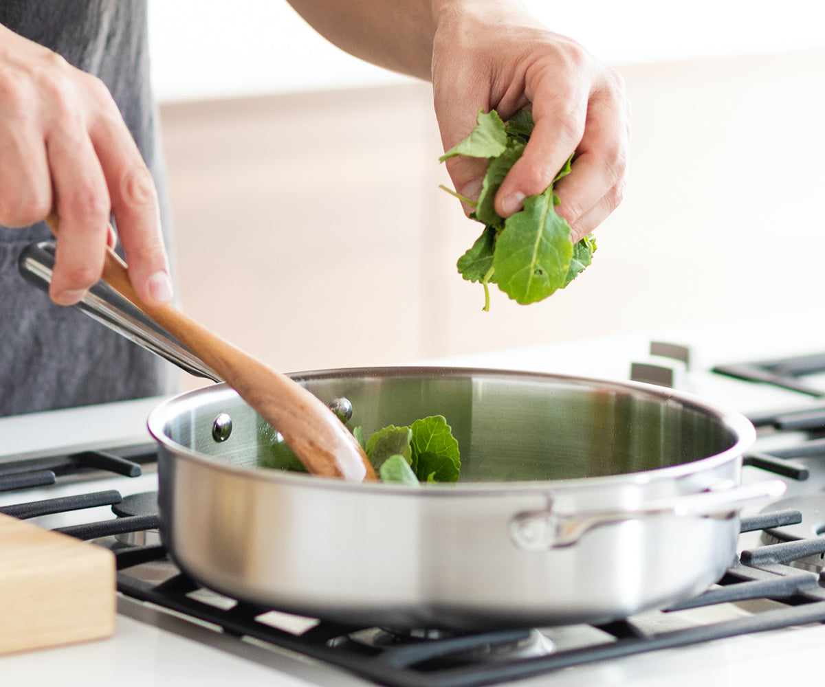The Misen 3 QT Saute pan is the one pan that does the work of five.