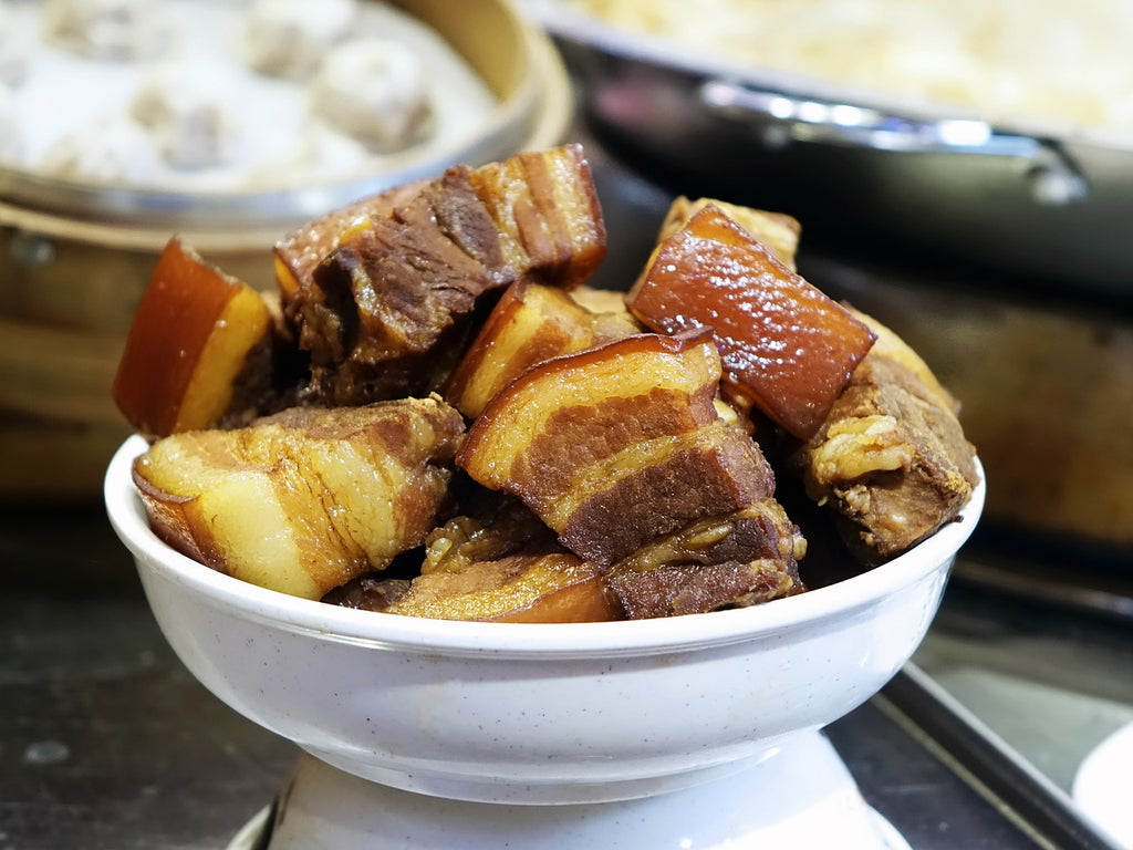 Skillet cooking: a bowl of braised pork belly